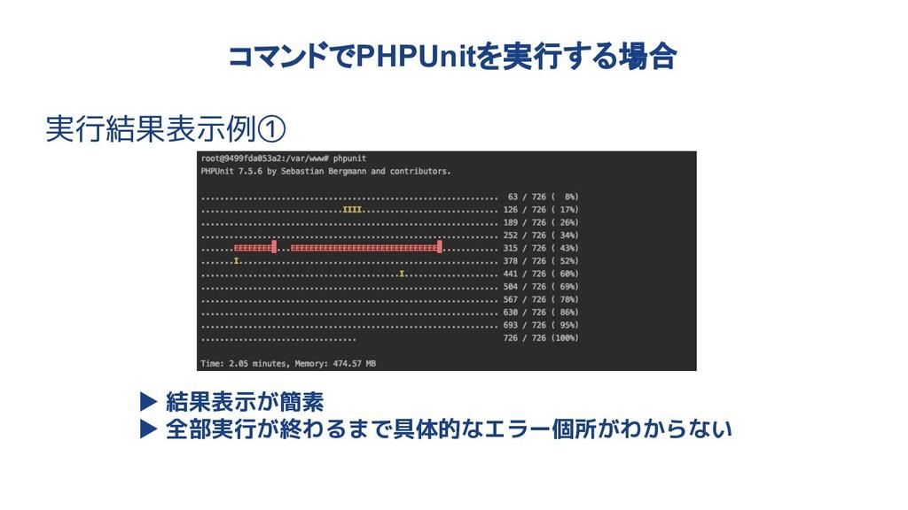 コマンドでPHPUnitを実行する場合 実行結果表示例① ▶ 結果表示が簡素 ▶ 全部実行が終...