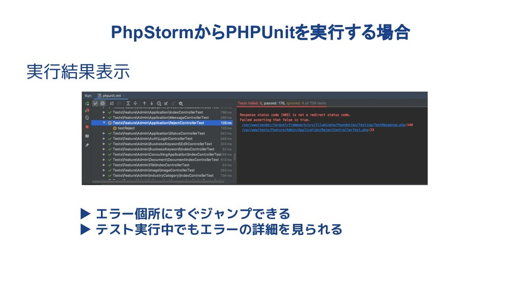 PhpStormからPHPUnitを実行する場合 実行結果表示 ▶ エラー個所にすぐジャンプで...