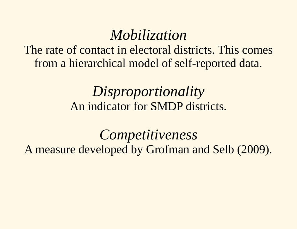 Mobilization The rate of contact in electoral d...
