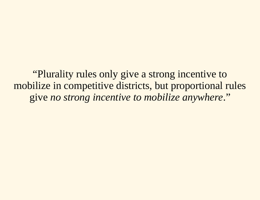 """""""Plurality rules only give a strong incentive t..."""