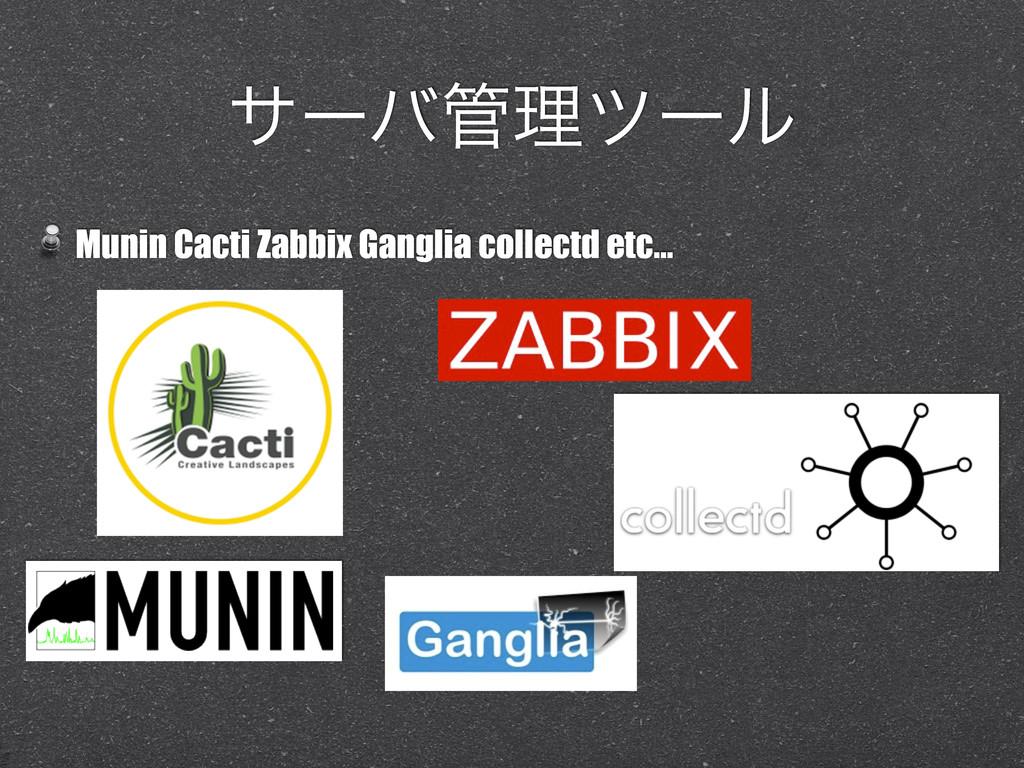 αʔόཧπʔϧ Munin Cacti Zabbix Ganglia collectd et...