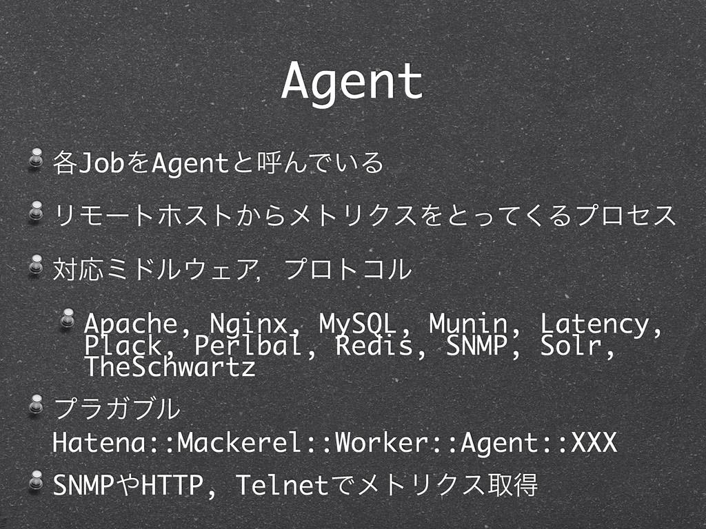 Agent ֤JobΛAgentͱݺΜͰ͍Δ ϦϞʔτϗετ͔ΒϝτϦΫεΛͱͬͯ͘Δϓϩηε...