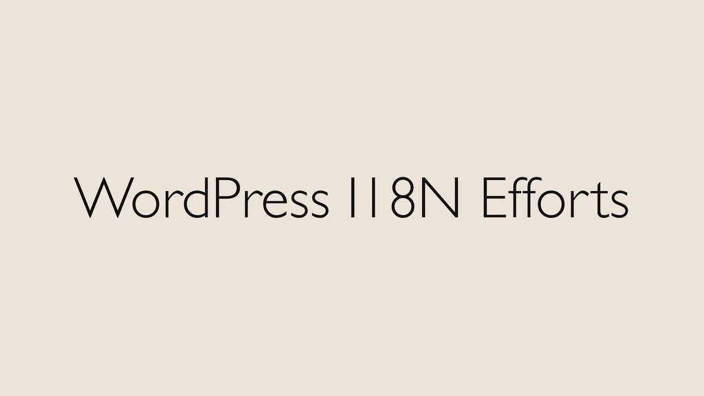 WordPress I18N Efforts