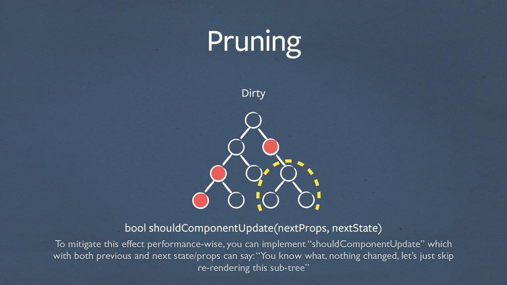 Pruning Dirty bool shouldComponentUpdate(nextPr...