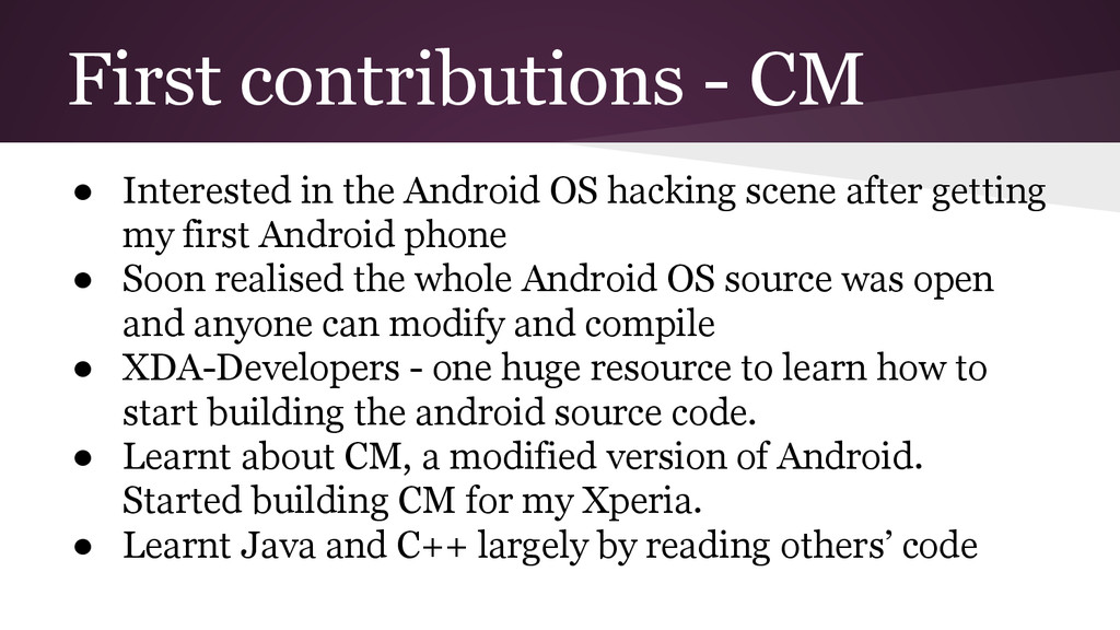 First contributions - CM ● Interested in the An...