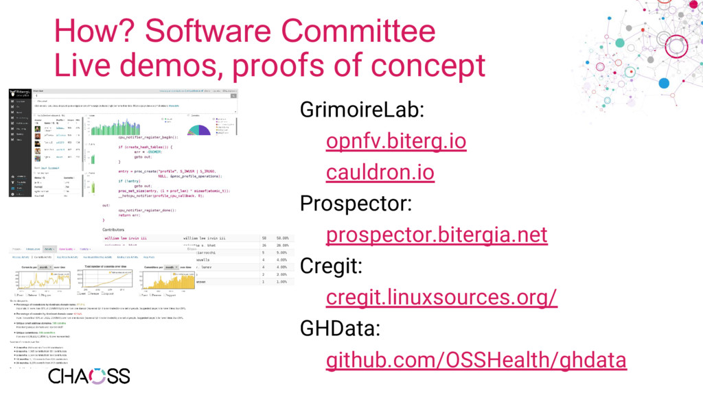 How? Software Committee Live demos, proofs of c...