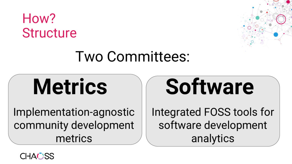 How? Structure Two Committees: Metrics Software...