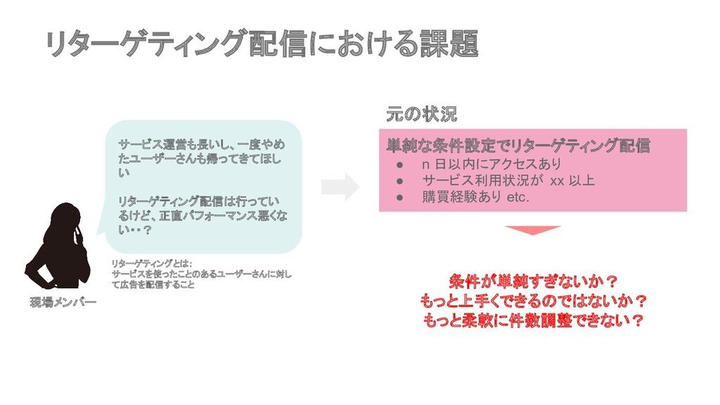 リターゲティング配信における課題 元の状況 単純な条件設定でリターゲティング配信 ● n 日以...
