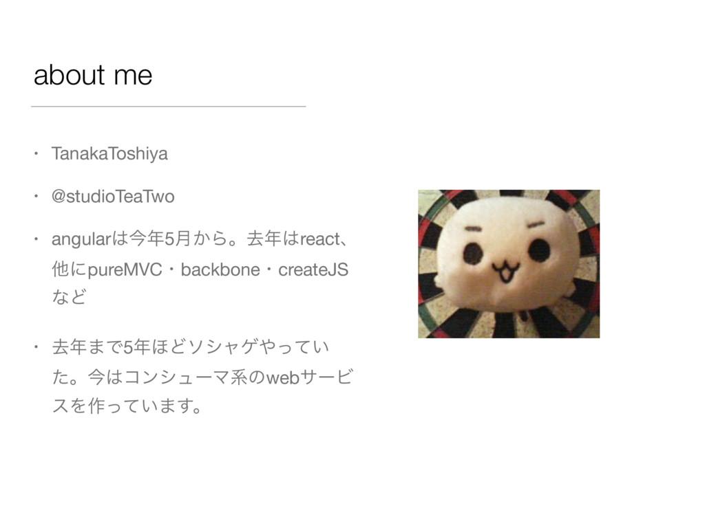 about me • TanakaToshiya  • @studioTeaTwo  • an...