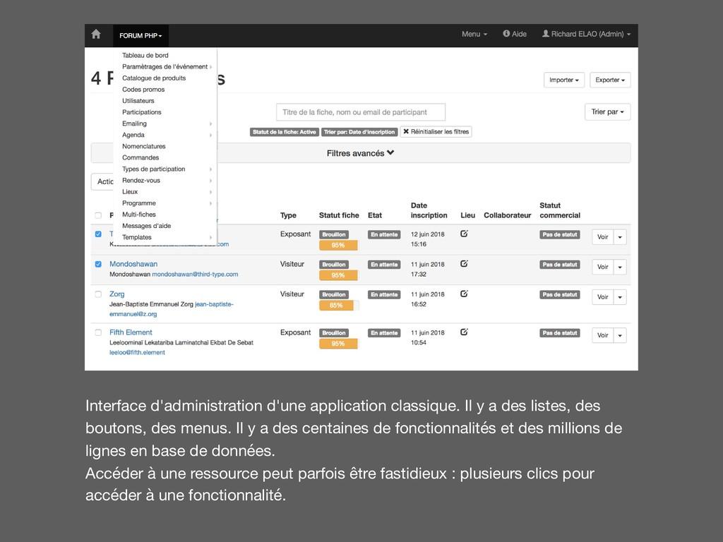 Interface d'administration d'une application cl...