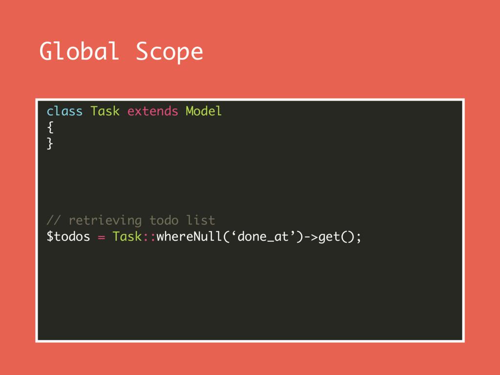Global Scope class Task extends Model { } // ...