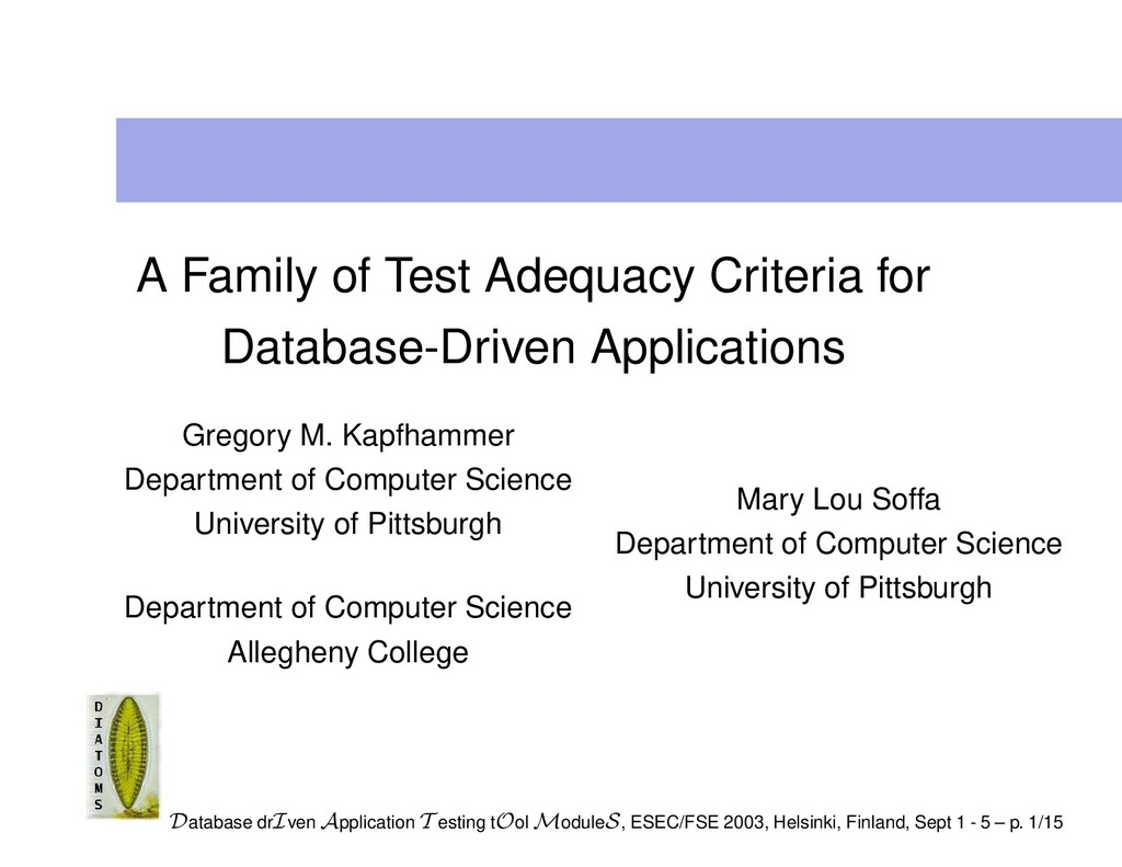 A Family of Test Adequacy Criteria for Database...