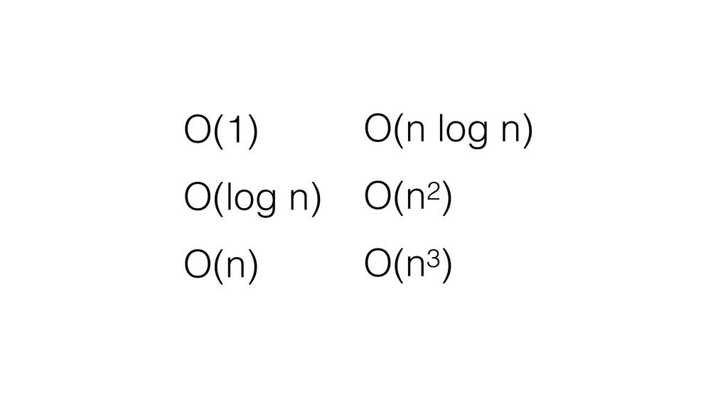 O(1) O(log n) O(n) O(n log n) O(n2) O(n3)