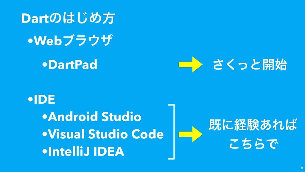 ͬ͘͞ͱ։ Dartͷ͡Ίํ •Webϒϥβ •DartPad •IDE •Androi...