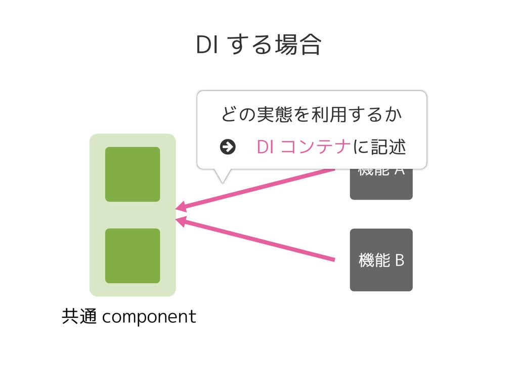 共通 component DI する場合 どの実態を利用するか DI コンテナに記述