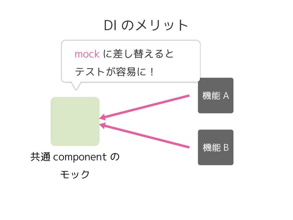 共通 component の モック DI のメリット mock に差し替えると テストが容易...