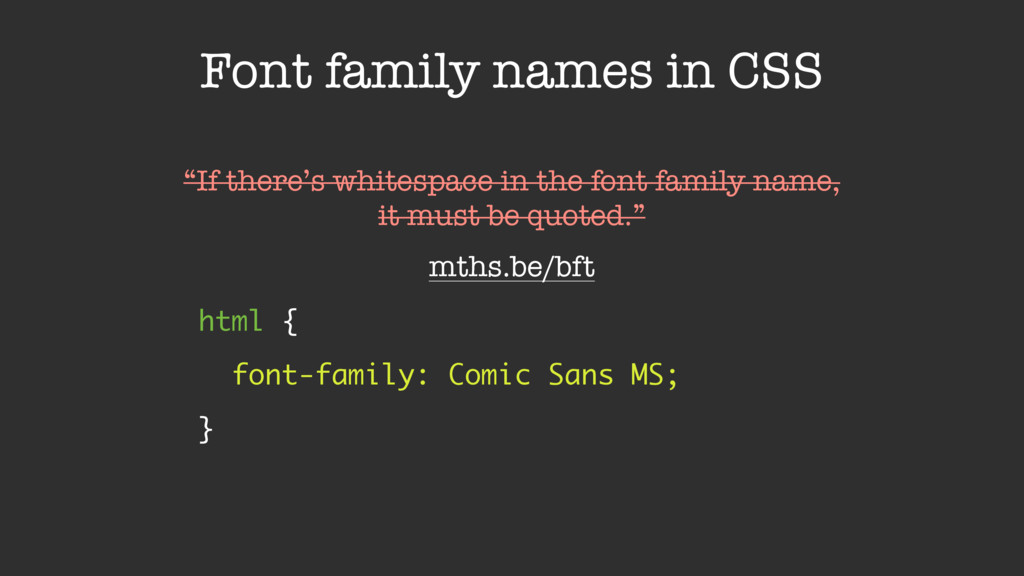 Font family names in CSS html {