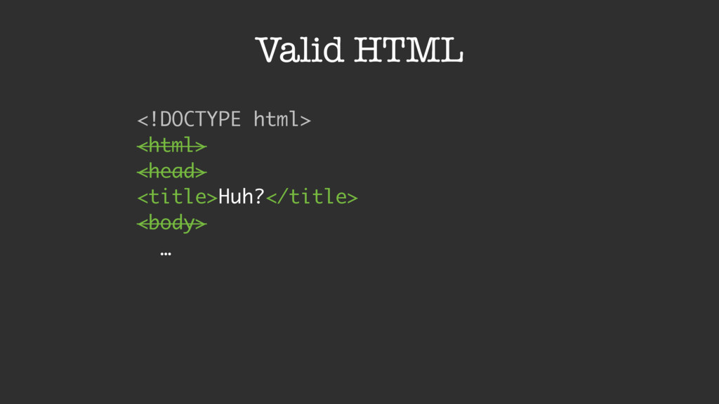 Valid HTML <!DOCTYPE html>