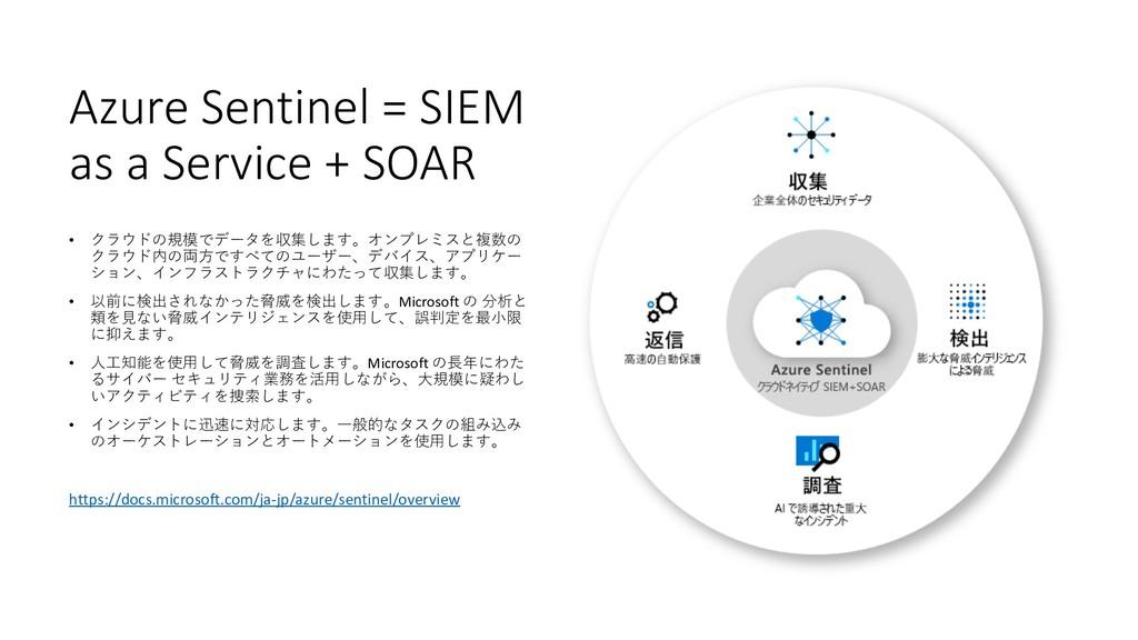 Azure Sentinel = SIEM as a Service + SOAR • クラウ...