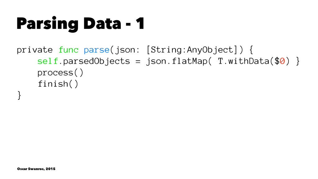 Parsing Data - 1 private func parse(json: [Stri...