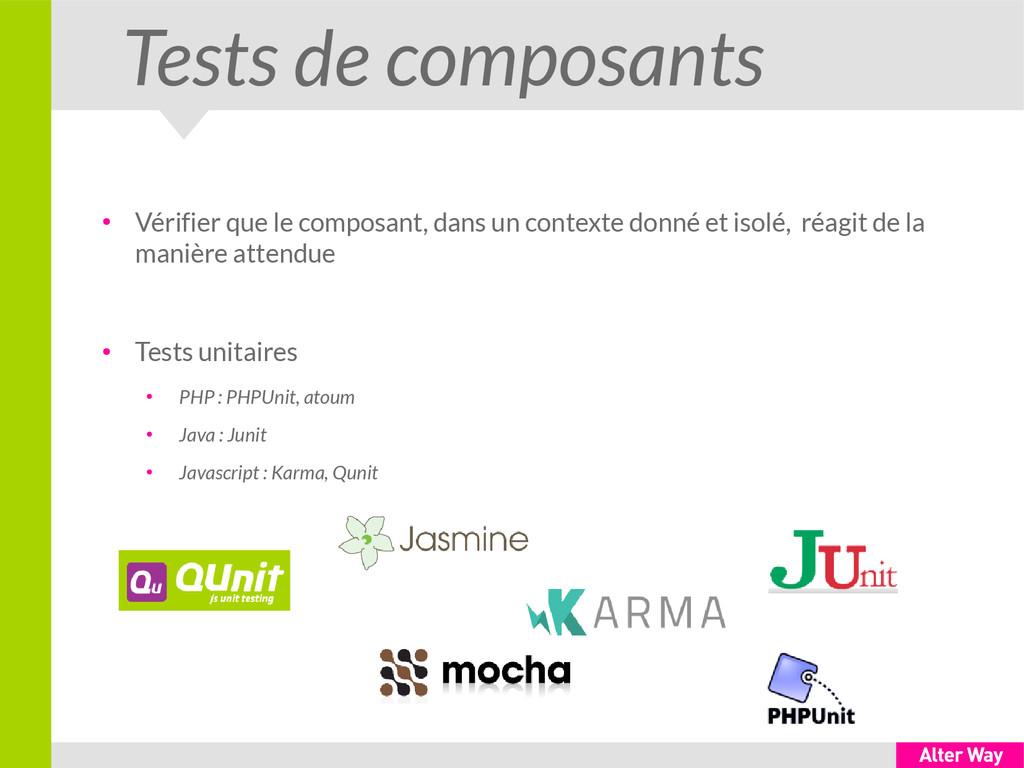 Tests de composants ● Vérifier que le composant...