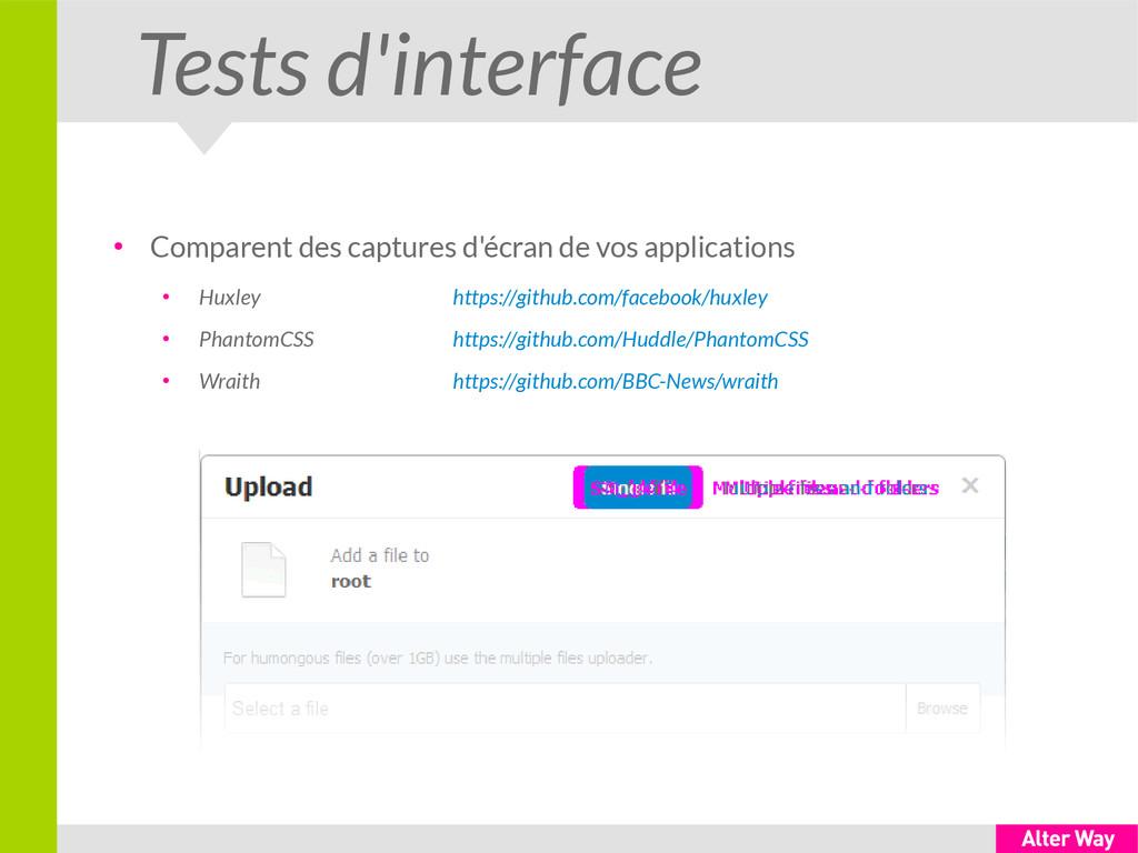 Tests d'interface ● Comparent des captures d'éc...