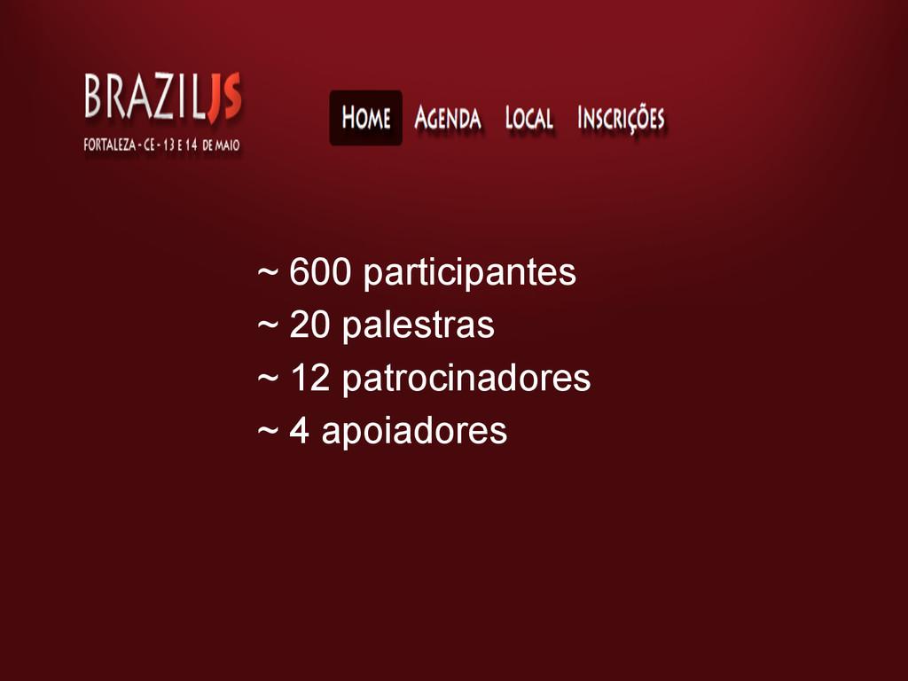 ~ 600 participantes ~ 20 palestras ~ 12 patroci...