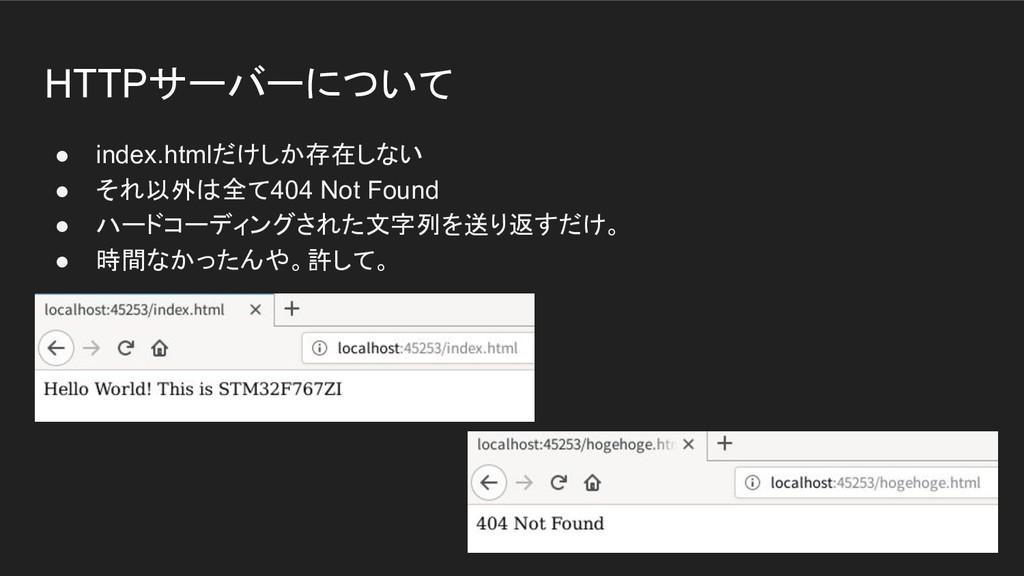 HTTPサーバーについて ● index.htmlだけしか存在しない ● それ以外は全て404...