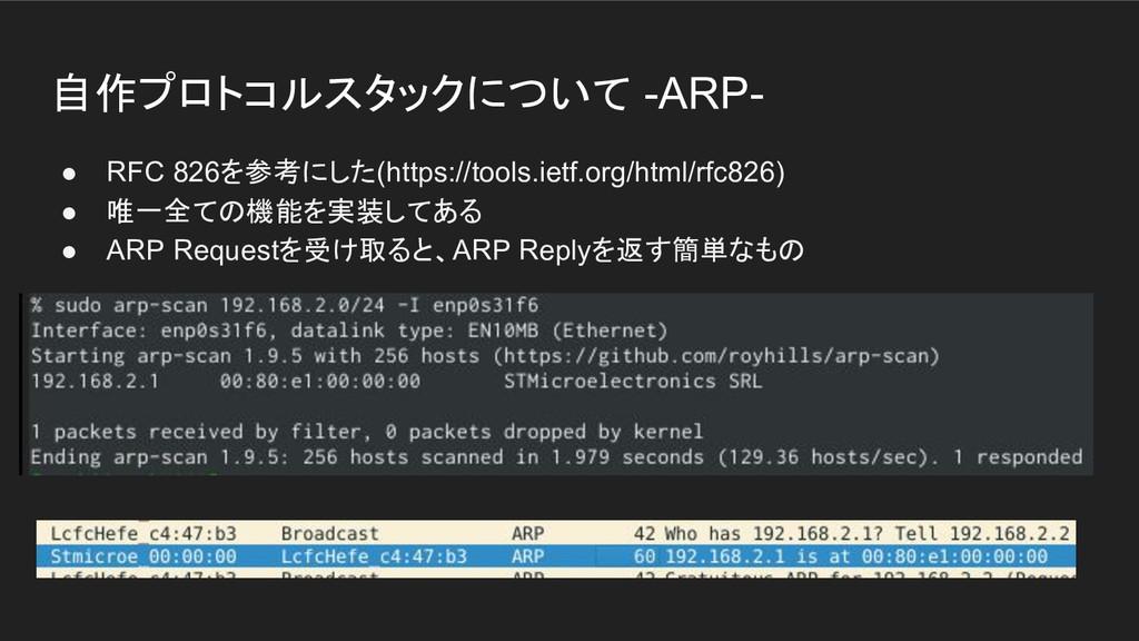 自作プロトコルスタックについて -ARP- ● RFC 826を参考にした(https://t...