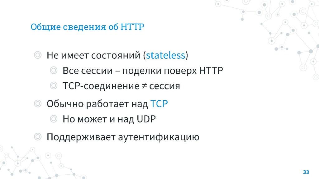Общие сведения об HTTP ◎ ◎ ◎ ◎ ◎ ◎