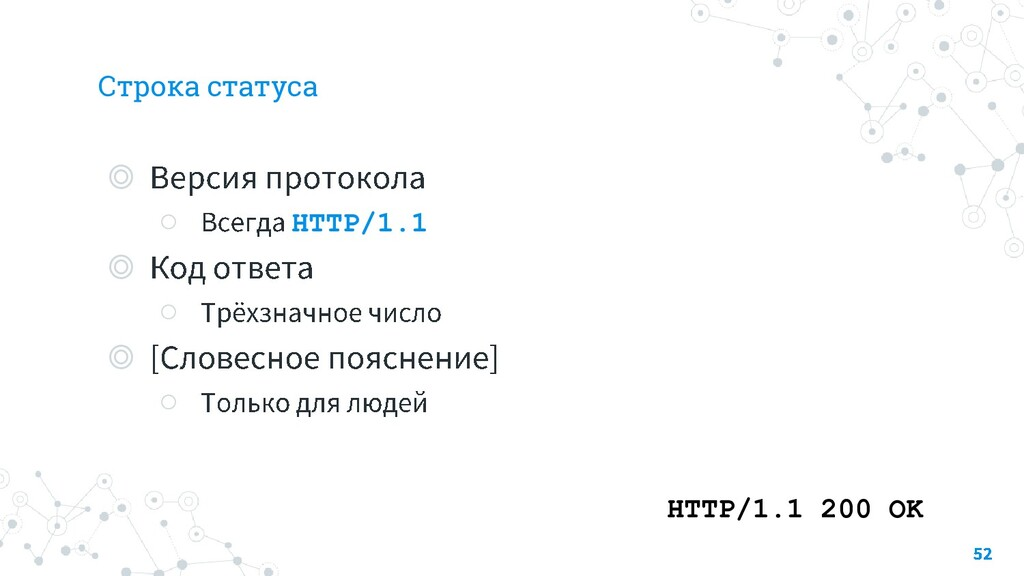 Строка статуса ◎ ○ HTTP/1.1 ◎ ○ ◎ ○ HTTP/1.1 20...