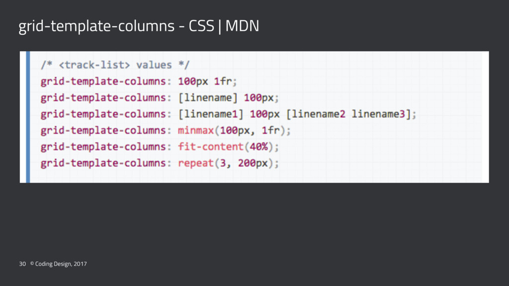 grid-template-columns - CSS | MDN 30 © Coding D...