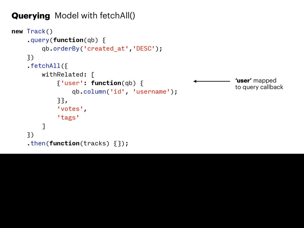 Querying Model with fetchAll() new Track() .que...