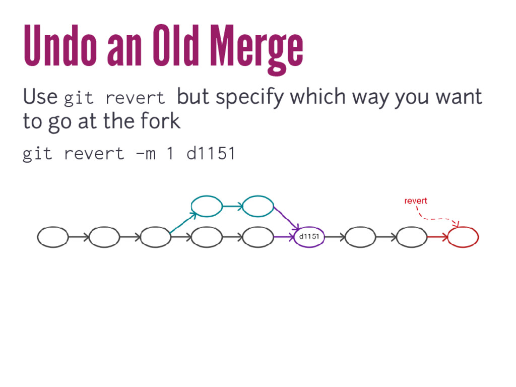 Undo an Old Merge Use git revert but specify wh...