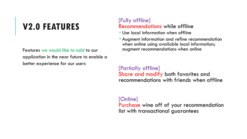 V2.0 FEATURES [Fully offline] Recommendations w...