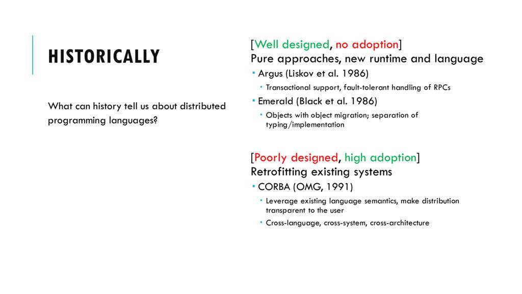 HISTORICALLY [Well designed, no adoption] Pure ...