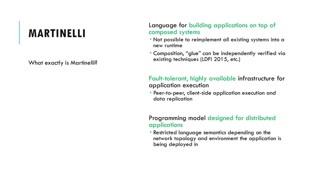 MARTINELLI Language for building applications o...