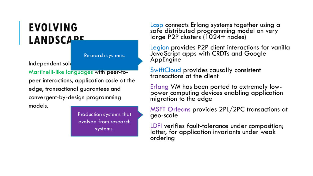 EVOLVING LANDSCAPE Lasp connects Erlang systems...