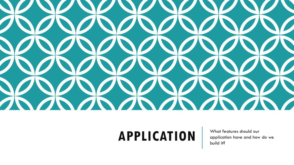 APPLICATION What features should our applicatio...