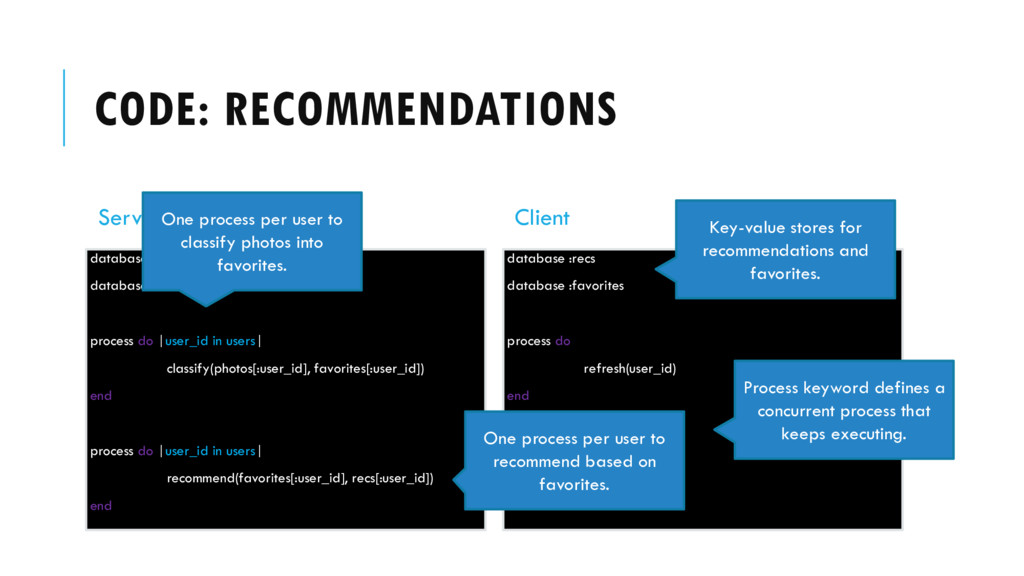 CODE: RECOMMENDATIONS Server database :recs dat...