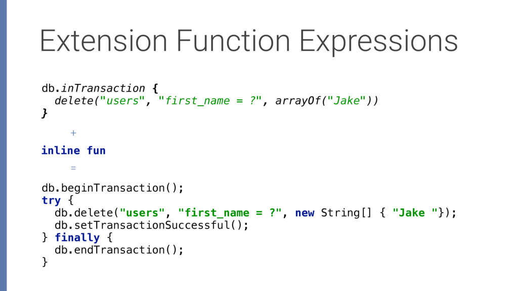 Extension Function Expressions db.beginTransact...