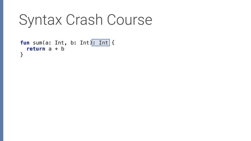 Syntax Crash Course fun sum(a: Int, b: Int): In...
