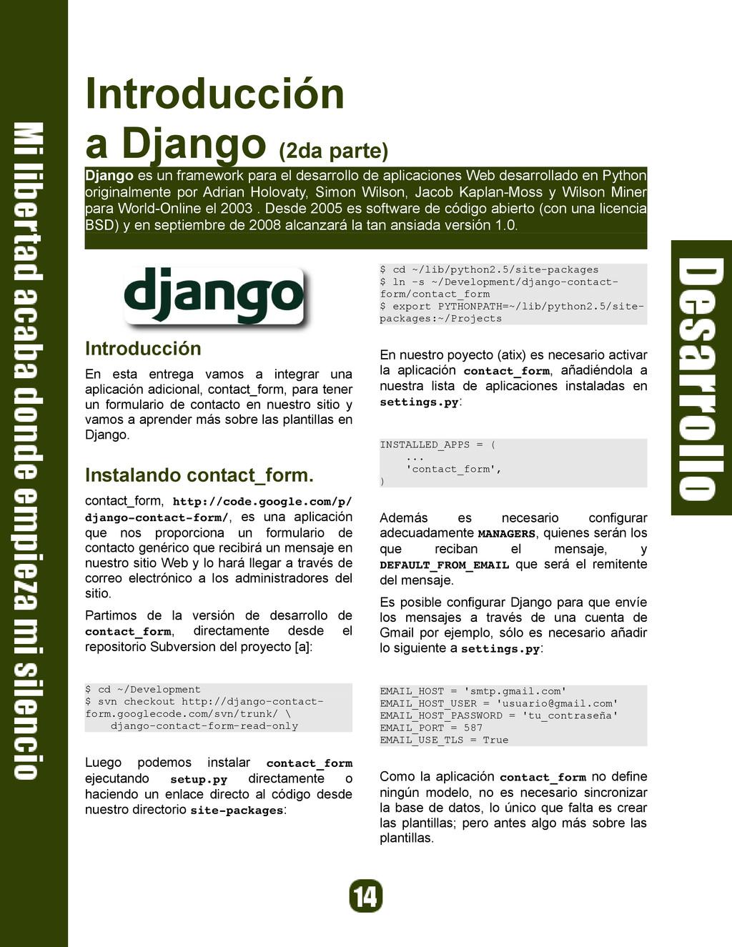 Introducción a Django (2da parte) Django es un ...