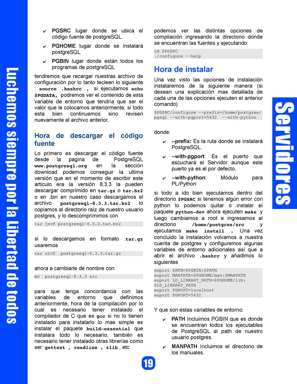 ✔ PGSRC lugar donde se ubica el código fuente d...