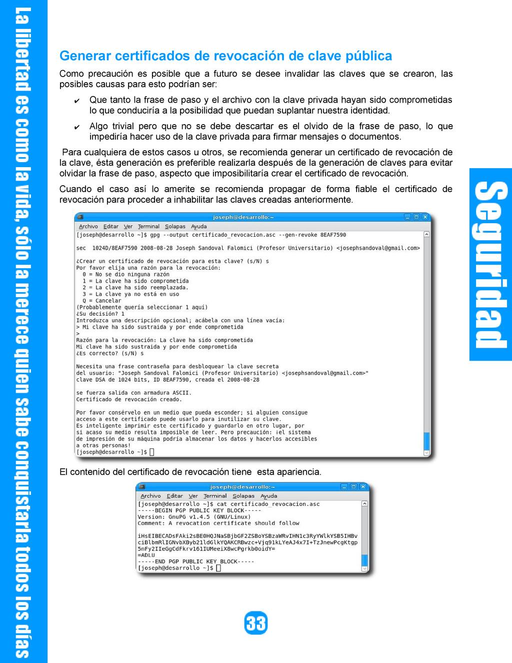 Generar certificados de revocación de clave púb...