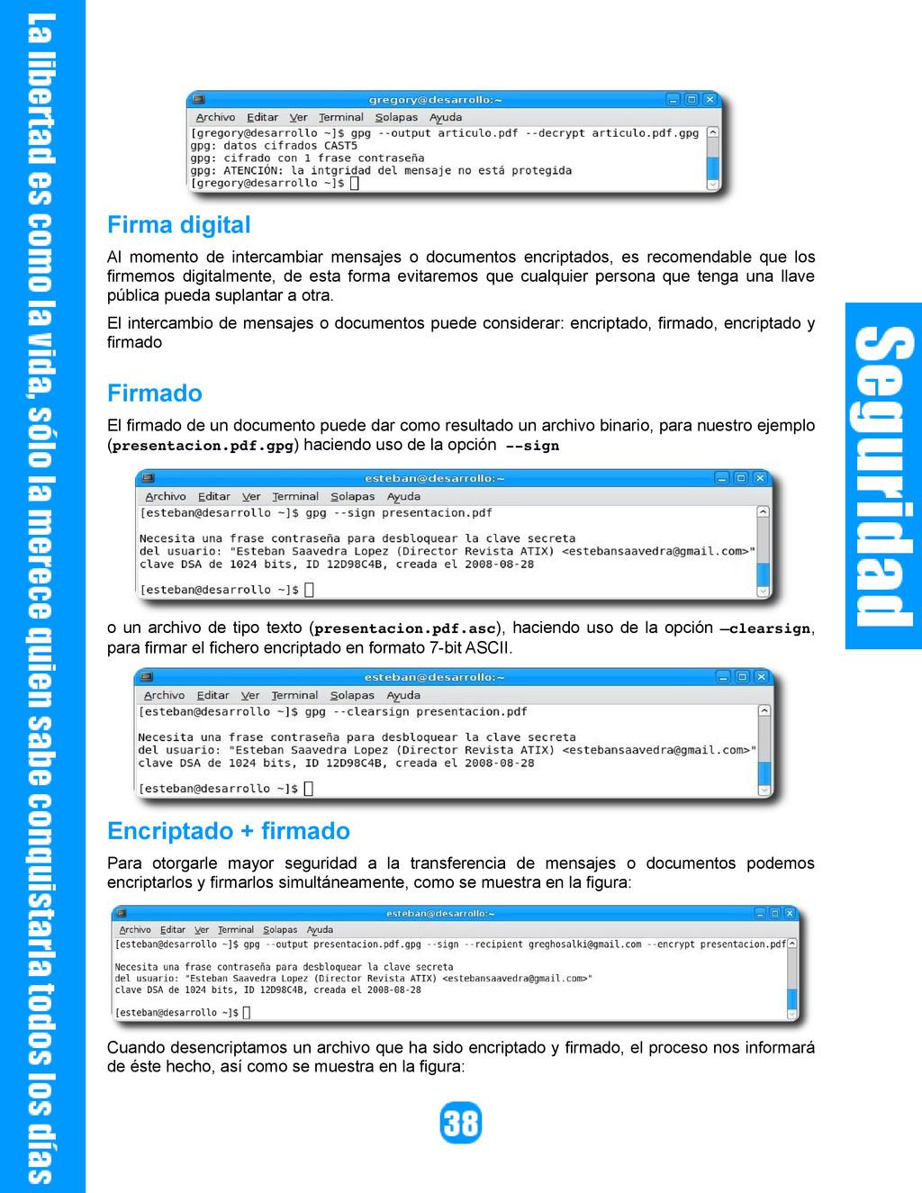 Firma digital Al momento de intercambiar mensaj...