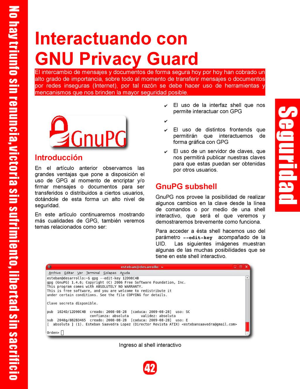 Interactuando con GNU Privacy Guard El intercam...