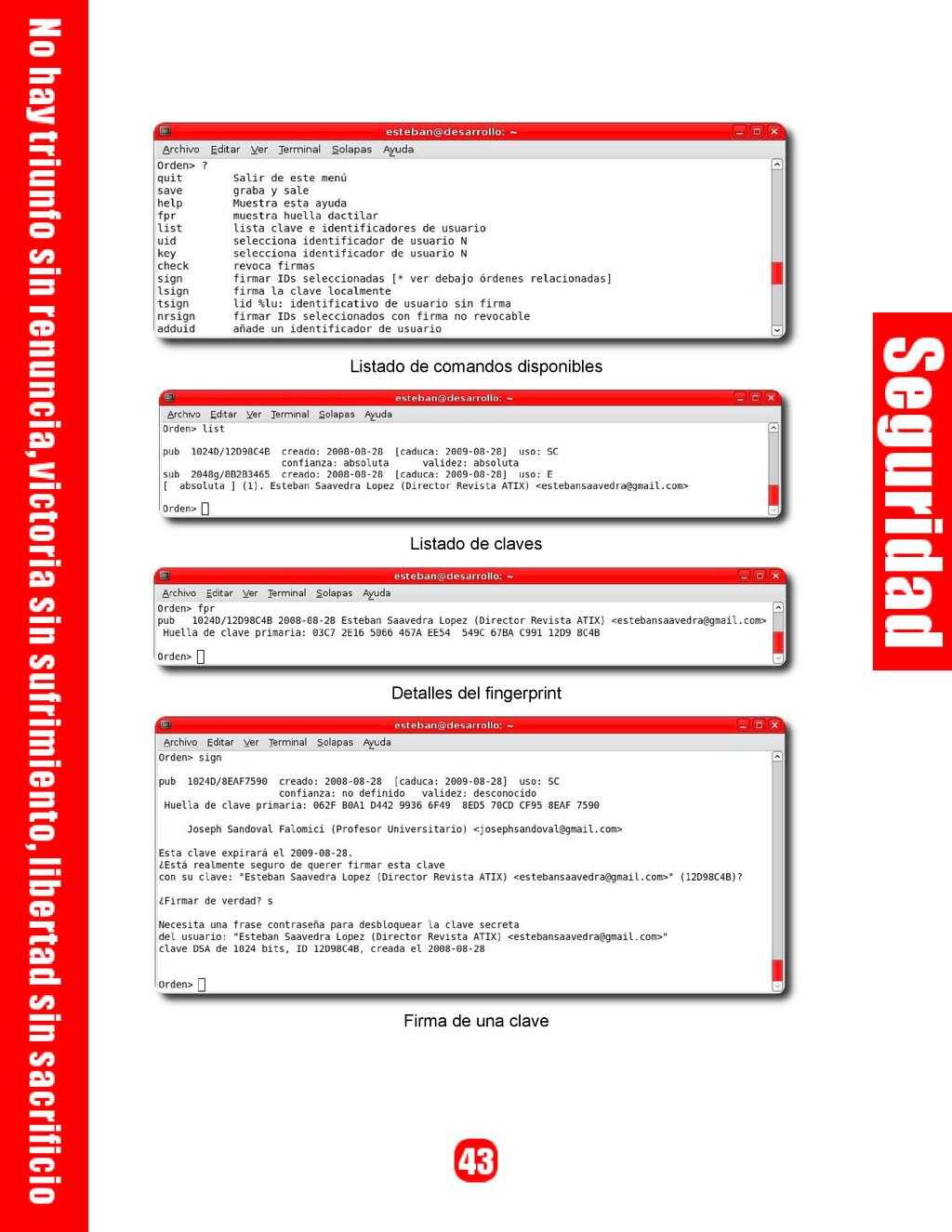 Listado de comandos disponibles Listado de clav...
