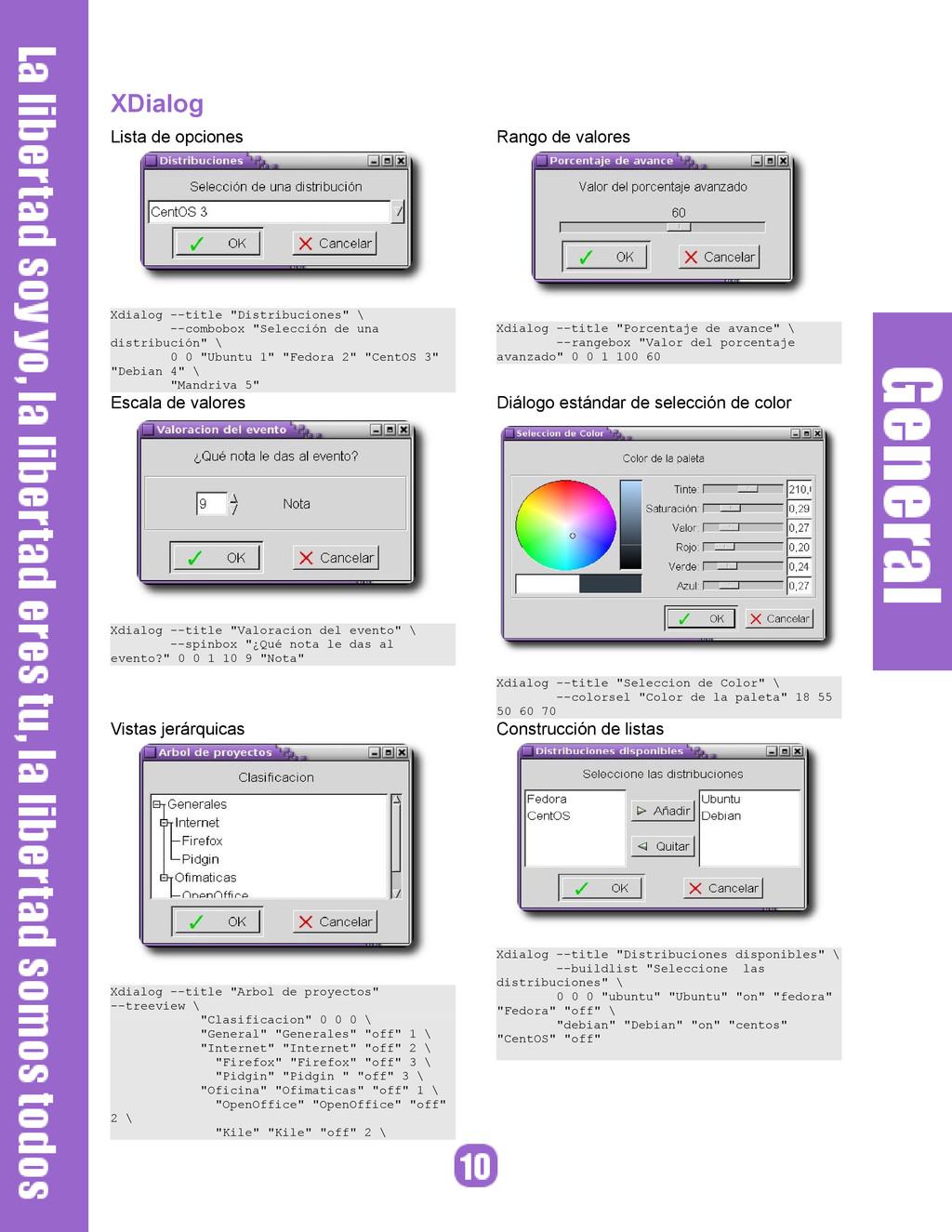 """XDialog Lista de opciones Xdialog --title """"Dist..."""