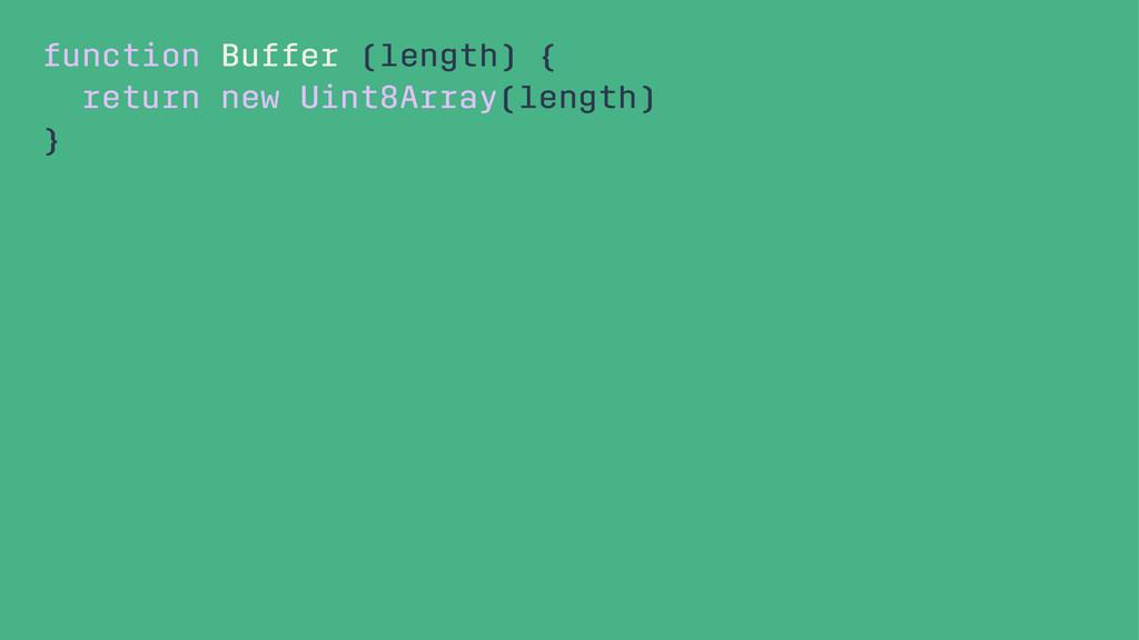 function Buffer (length) { return new Uint8Arra...